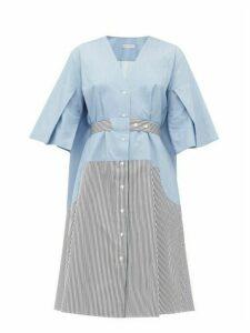 Palmer//harding - Manon Belted Cotton Shirtdress - Womens - Blue Multi