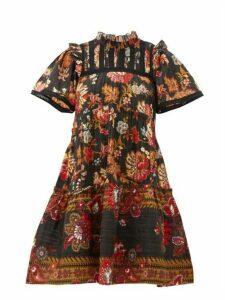 Sea - Pascale Floral-print Cotton Mini Dress - Womens - Black Multi