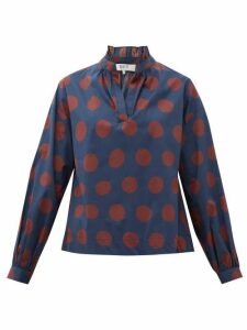 Sea - Penny Spot-print Ruffled Cotton-blend Blouse - Womens - Navy