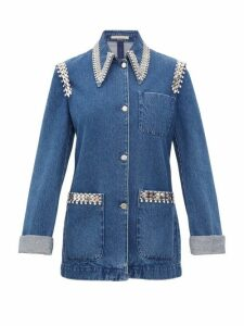 Christopher Kane - Crystal Trimmed Point Collar Denim Jacket - Womens - Denim