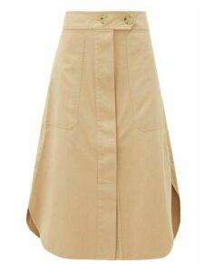 Lee Mathews - Workroom Patch-pocket Organic-cotton Midi Skirt - Womens - Camel