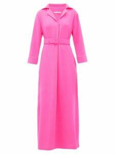 Marta Ferri - Belted Wool-crepe Maxi Dress - Womens - Fuchsia