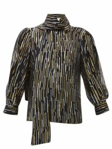 Peter Pilotto - Metallic Fil-coupé Silk-blend Blouse - Womens - Black