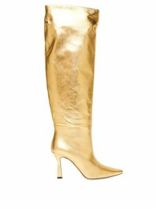 Wandler - Lina Point-toe Knee-high Leather Boots - Womens - Gold