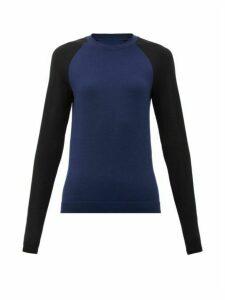 Ernest Leoty - Contrast-sleeved Wool-blend Jersey Top - Womens - Navy Multi