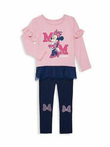 Little Girl's 2-Piece Minnie Mouse Top & Pants Set