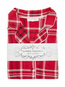 Plaid-Print Velour Fleece Pajama Set