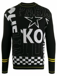 Koché patchwork print knitted jumper - Black