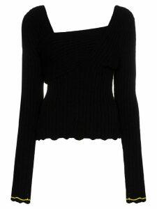 Bottega Veneta asymmetric V-neck knit top - Black