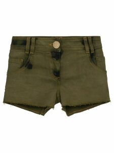 Balmain distressed stretch-denim shorts - Green
