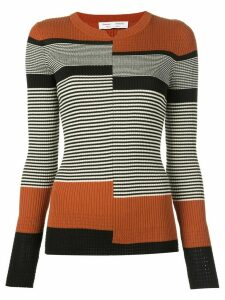 Proenza Schouler White Label stripes fine gauge rib knit top - Black