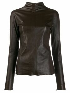 Bottega Veneta zip detail long-sleeved top - Brown