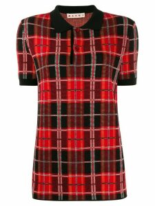 Marni tartan knit polo shirt - Red