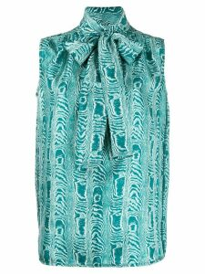 Marni pussy-bow sleeveless blouse - Blue