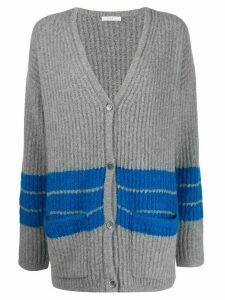 6397 striped V-neck cardigan - Grey