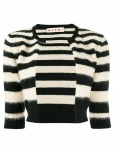 Marni cropped striped cardigan - Black
