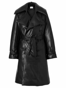 Burberry Lambskin Oversized Puffer Trench Coat - Black