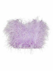 The Attico ostrich feather bandeau top - PURPLE