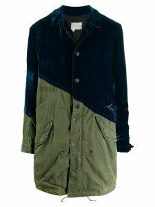 Greg Lauren velvet fishtail parka coat - Green