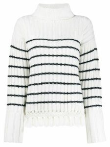 Each X Other striped roll neck jumper - White