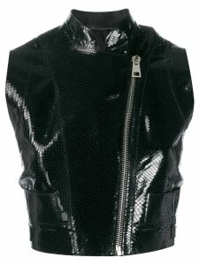 Manokhi embossed biker top - Black