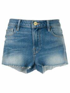 FRAME frayed high-rise denim shorts - Blue