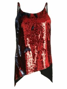 Marques'Almeida dropped hem sequinned slip top - Red