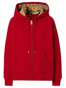 Burberry hooded zip-up hoodie - Red