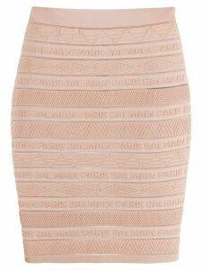 Balmain logo-embellished skirt - NEUTRALS