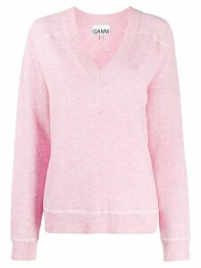 GANNI V-neck jumper - PINK