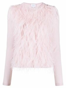 Giambattista Valli feather-embellished jumper - PINK