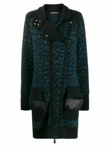 Roberto Cavalli leopard print knit cardigan - Blue