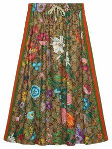 Gucci Flora pattern A-line skirt - Brown