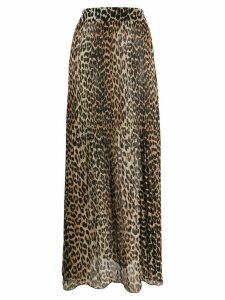 GANNI leopard print maxi skirt - Brown