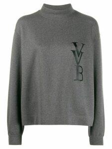 Victoria Victoria Beckham logo-print funnel-neck jumper - Grey
