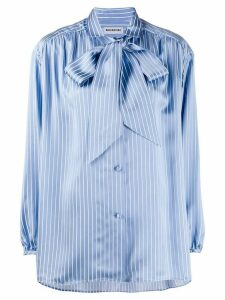 Balenciaga striped pussy bow blouse - Blue