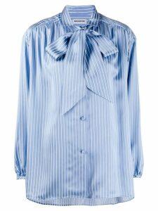Balenciaga striped pussy bow blouse - Blue