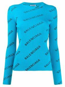 Balenciaga logo print ribbed jumper - Blue
