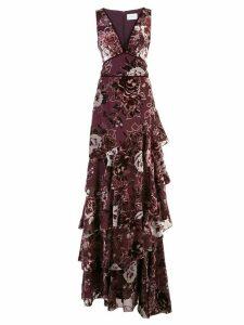 Marchesa Notte ruffle tiered long dress - PURPLE