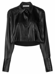 T By Alexander Wang cropped long-sleeve shirt - Black
