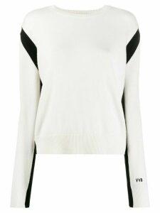 Victoria Victoria Beckham crew-neck slit-back jumper - NEUTRALS