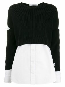 T By Alexander Wang contrast long-sleeve jumper - Black