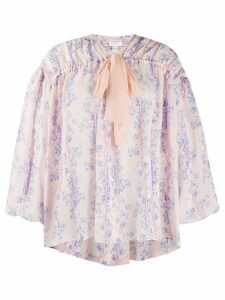 Giambattista Valli floral-print dropped shoulder blouse - PINK