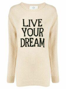 Alberta Ferretti cashmere slogan jumper - NEUTRALS