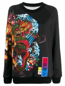 Balmain tiger and dragon print sweatshirt - Black