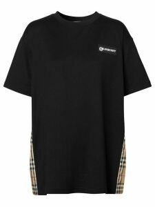 Burberry Vintage Check panel T-shirt - Black