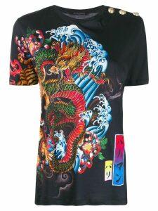 Balmain tiger and dragon print T-shirt - Black