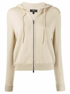 Theory hooded zip-front cardigan - NEUTRALS