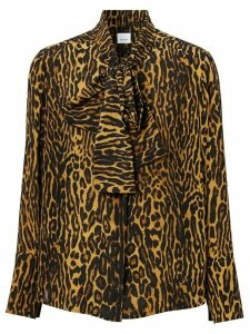 Burberry leopard print silk blouse - NEUTRALS