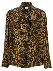 Burberry leopard print silk blouse - NEUTRALS